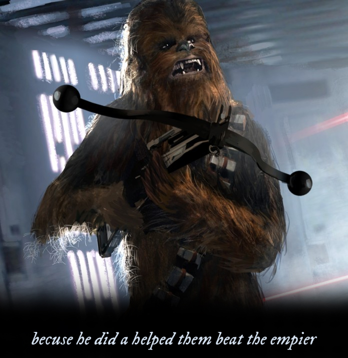 Chewbacca with the caption (sic) becuse he did a helped them beat the empier