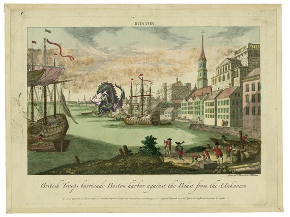 An old painting of Boston with a monster in the background