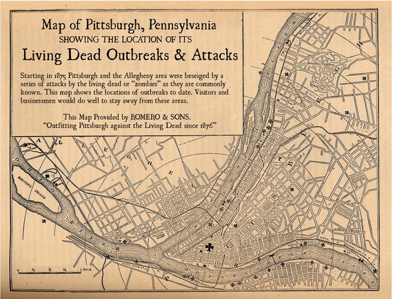 An old map of Pittsburgh showing zombie outbreaks