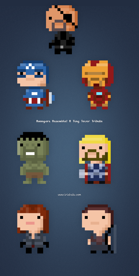 Avengers Tiny Tower Bitizens Pixel Art : Irishstu.com Blog